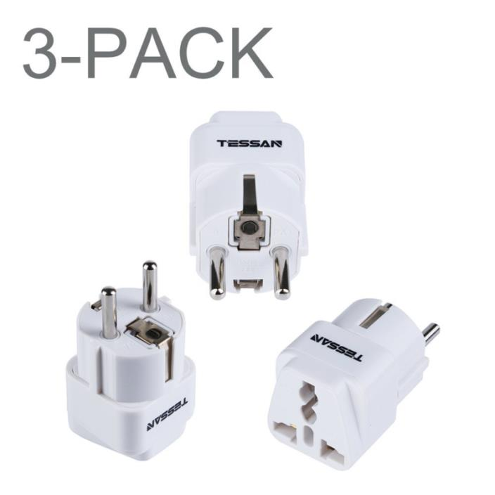 TESSAN Grounded Universal Travel Power Strip Plug Adapter USA to Germany/France