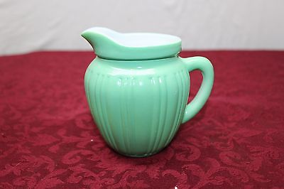 Lucite Green Miniature Pitcher Indented Stripes on Outside White on Inside 4