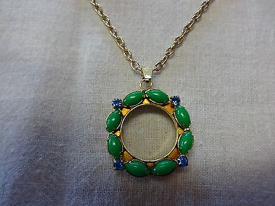 Beautiful Gold Tone Avon Necklace Watch Face Green and Blue w Gold Tone Chain