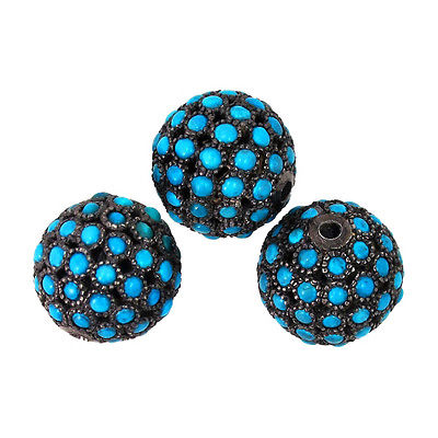 5 PCS Lot 4Ct Turquoise Spacer Bead 925 Sterling Silver Disco Ball Finding 17 MM