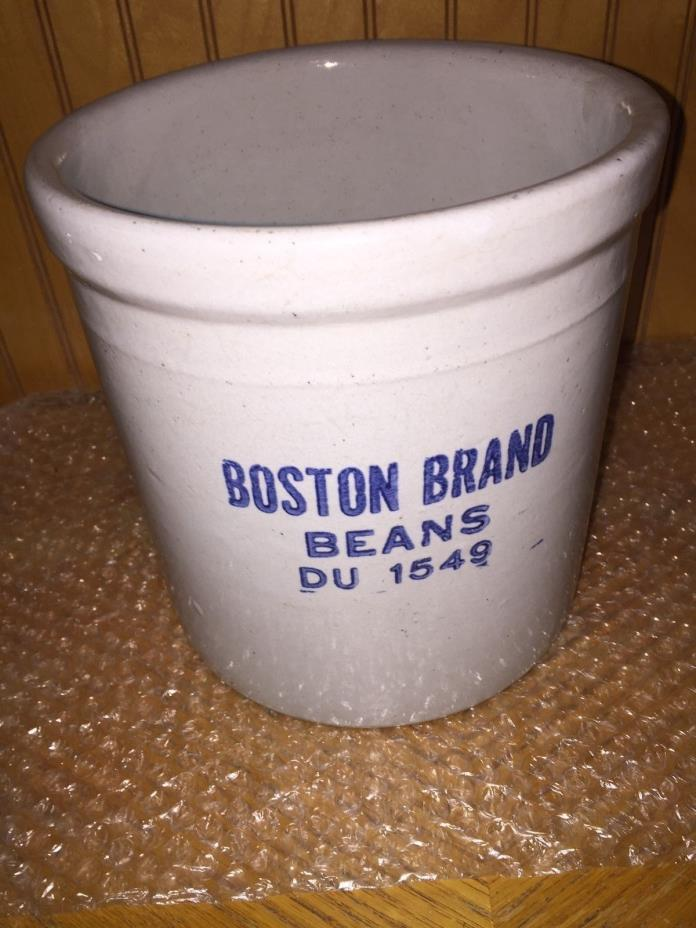 Vintage Boston Brand beans Gallon Stoneware Crock Beige