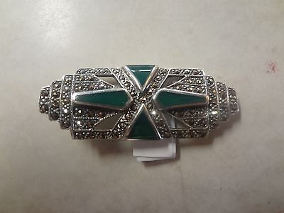 Sterling Silver .925 Green Stone & Marcasite Beautiful Brooch Pin