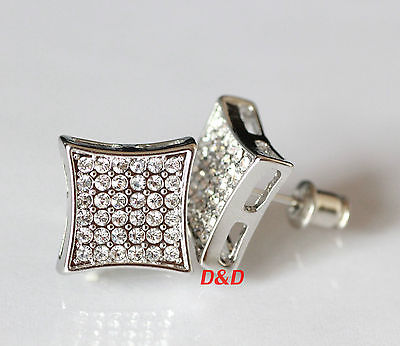 13mm Mens 18k White Gold Filled Real Silver Square Cubic Zirconia  Earrings