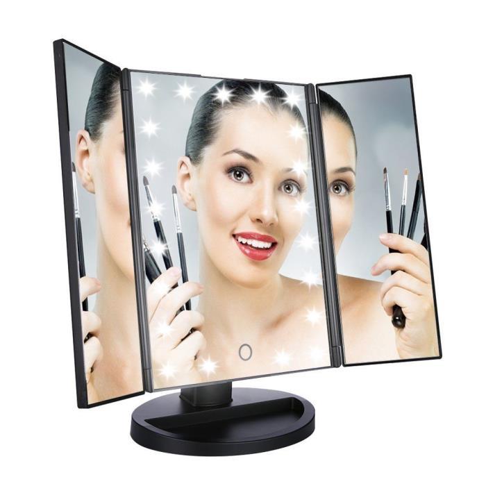 Easehold Led Lighted Vanity Mirror Make Up Tri-Fold w/21Pcs Lights 180degree #10