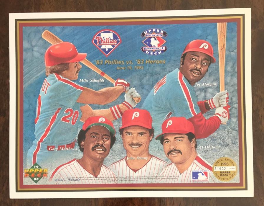 MLB PHILADELPHIA PHILLIES 1993 Upper Deck Heroes Baseball Sheet Limited Edition