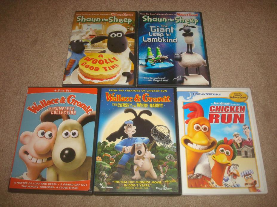 Wallace & Gromit Complete Collection Shaun the Sheep Chicken Run DVD LOT Kid Set