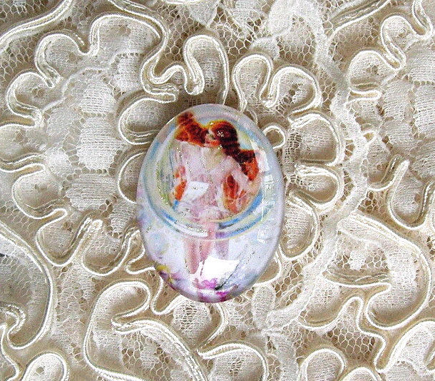 Fairy In A Bubble 30X40mm Glitter Unset Handmade Art Bubble Cameo Cabochon