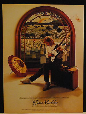 1986 Alex Lifeson of Rush uses Dean Markley guitar amp and strings print ad