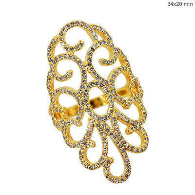 Handmade 18K Solid Yellow Gold Filigree Wedding Ring Diamond Pave Jewelry US 7