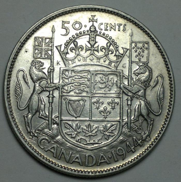 1944 Canada 50 cents silver coin, 80% fine
