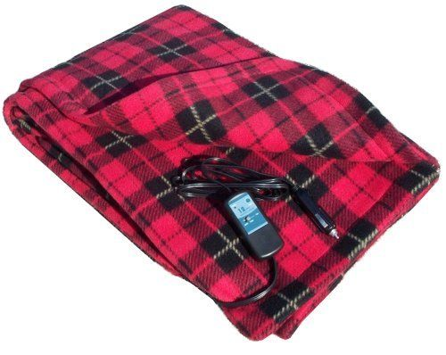 Heated Fleece Travel Blanket Electric 12 Volt Red Black Plaid Comfy Road Trip