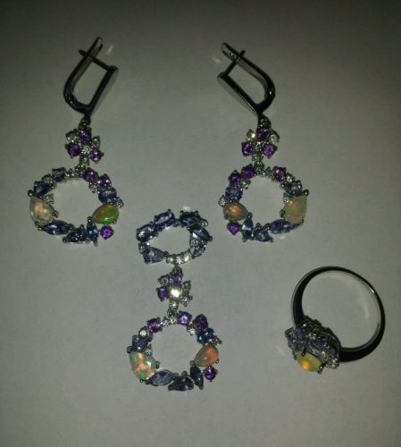 TANZANITE, OPAL & AMETHYST Sterling Silver Ring, Earring, and Pendant Set