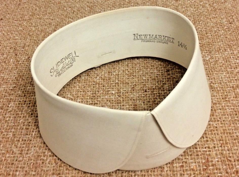 Victorian Detachable Stiff Linen Men's Shirt Collar 1915 Slidewell Old Stock