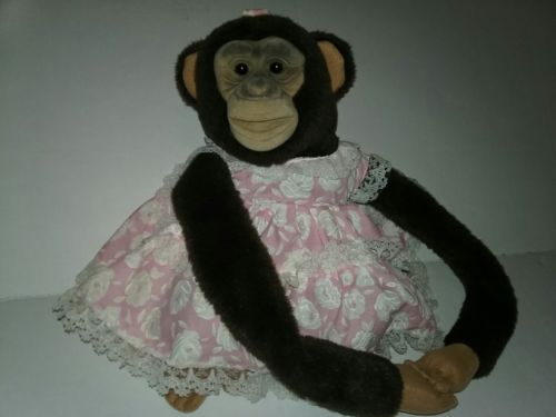1984 Childs Playmate Cute Baby Monkey Puppet Plush Toy with Pink Dress Long Arms