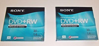 QTY 2 SONY HANDYCAM DVD+RW 30MIN 1.4GB DISCS NEW