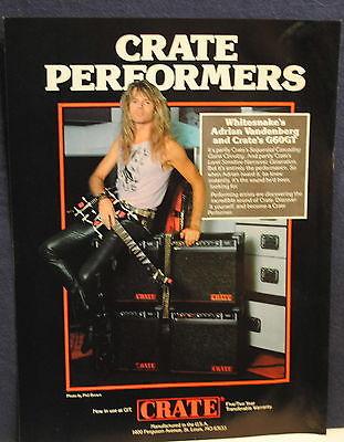 1987 Adrian Vandenberg of Whitesnake Crate G60GT guitar amp photo print ad