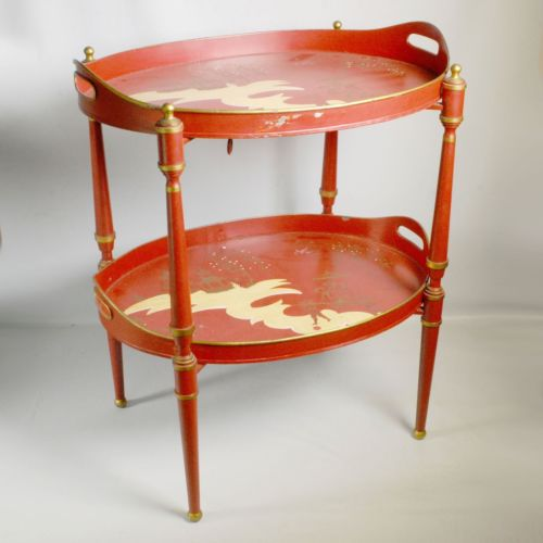 Two Tier Tole Painted Tray On Stand