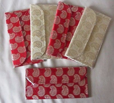 5 Silk Brocade Red Off White Gold Money Envelopes Wedding Engagement Cash Gift