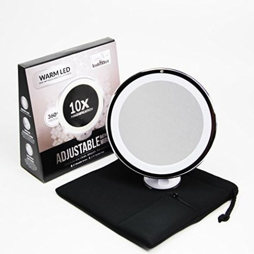 10x Magnifying Lighted Makeup Mirror. Warm LED Tap Light Bathroom Vanity Mirror
