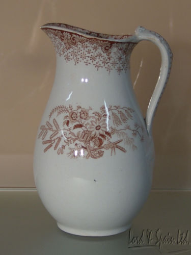 Brown Transferware Aesthetic Movement Ironstone Pitcher or Jug