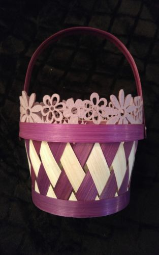Beautiful Handmade Purple and White Flower Girl basket