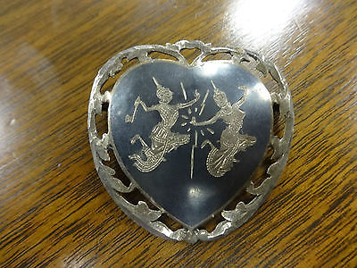 Siam Sterling Silver .925 Black Enamel Love & Hate Heart Brooch Pin Niello