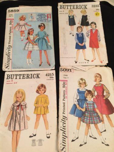 Vintage Sewing Patterns Girls Dresses 1950s Size 4 (D)