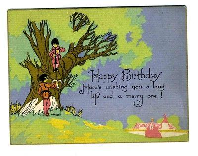 Buzza Company Birthday Card Gold Edge Wheeler Children Golden Tree