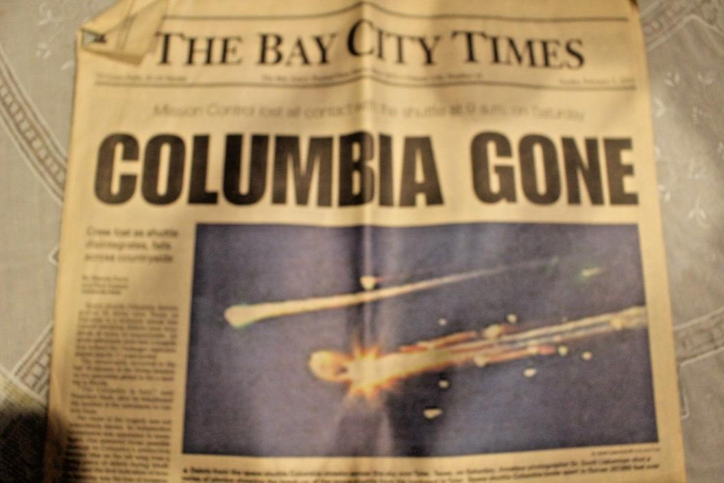 Columbia is lost SPACE SHUTTLE BREAKS UP Star-Ledger NEWSPAPER 2/2 2003