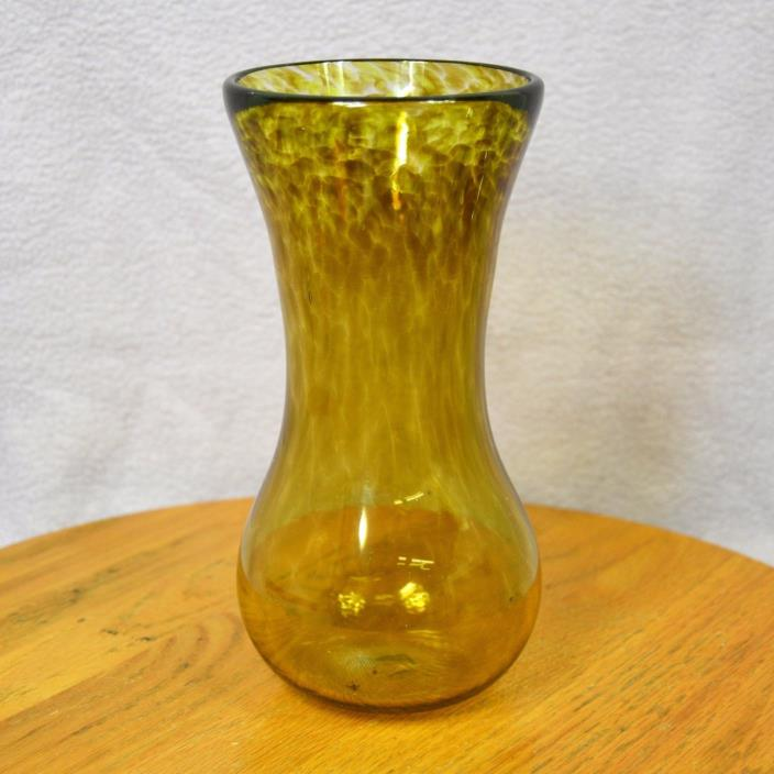 Yellow and Smoke Hand Blown Glass Vase with Pontil Mark about 8