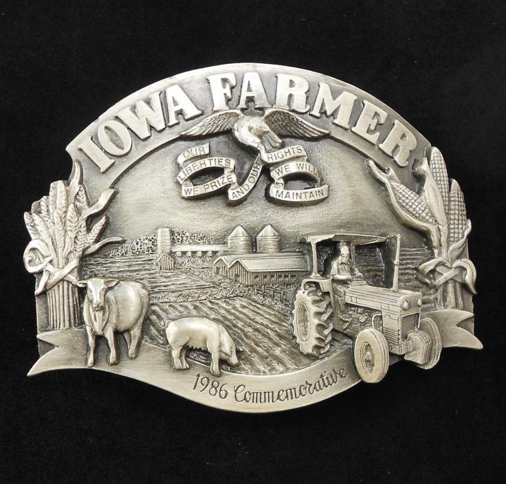 NOS Gorgeous Vintage 1986 Commemorative Iowa Farmer Belt Buckle Farm Tractor