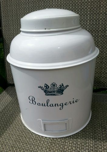 Boulangerie White Tin Canister Container Bakery Decoration Holder French Blue