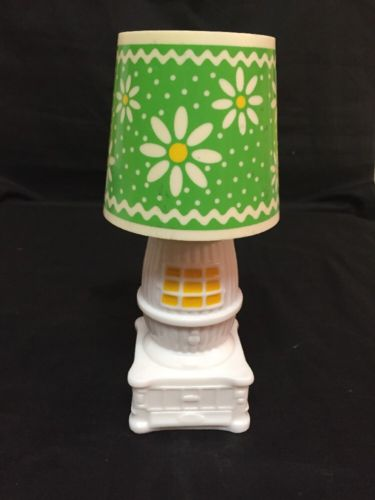Vintage Avon Country Charm Field Flowers Cologne Pot Belly Stove Lamp Decanter
