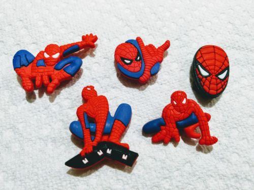 Superhero Spiderman face web shooter shoe charm like jibbitz lot of 5