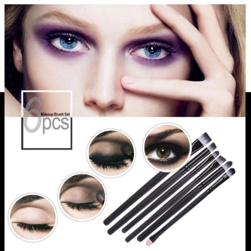 Eye Makeup Brushes Cosmetics Set Eyeshadow Eyeliner Nose Smudge Tools Kit 6 PCS