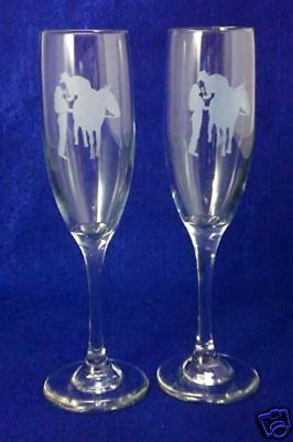 Personalized Western Horse Wedding Toasting Glasses Flutes NEW Engraved FREE