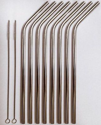 8 Stainless Steel Drinking Straws 2 Brush Cleaners CocoStraw Elegant Eco