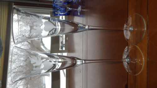 Wedding Toasting Champagne Flutes Etched Heart Doves 2 tall elegant stems