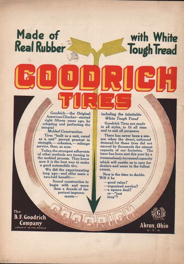 1912 BF GOODRICH TIRE AUTO CAR TREAD RUBBER AKRON MILE MOTOR ENGINE ROAD 19210