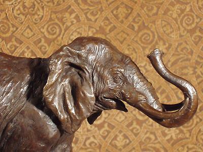 Genuine Bronze Metal Statue Stone Base Mammoth Jungle Safari Elephant Sculpture