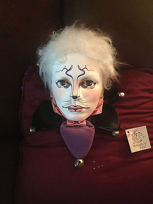 DYAN NELSON SCULPTURE CAT FACE CLAY SIGNED HAND PAINTED STATUE CLOWN VINTAGE