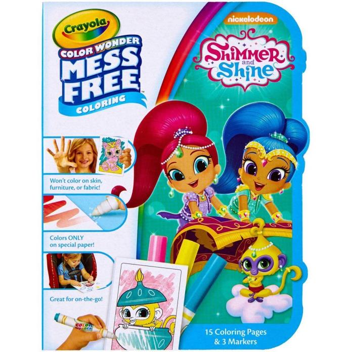 Shimmer And Shine Crayola Color Wonder On The Go, 15 Coloring Pages, 3 Markers
