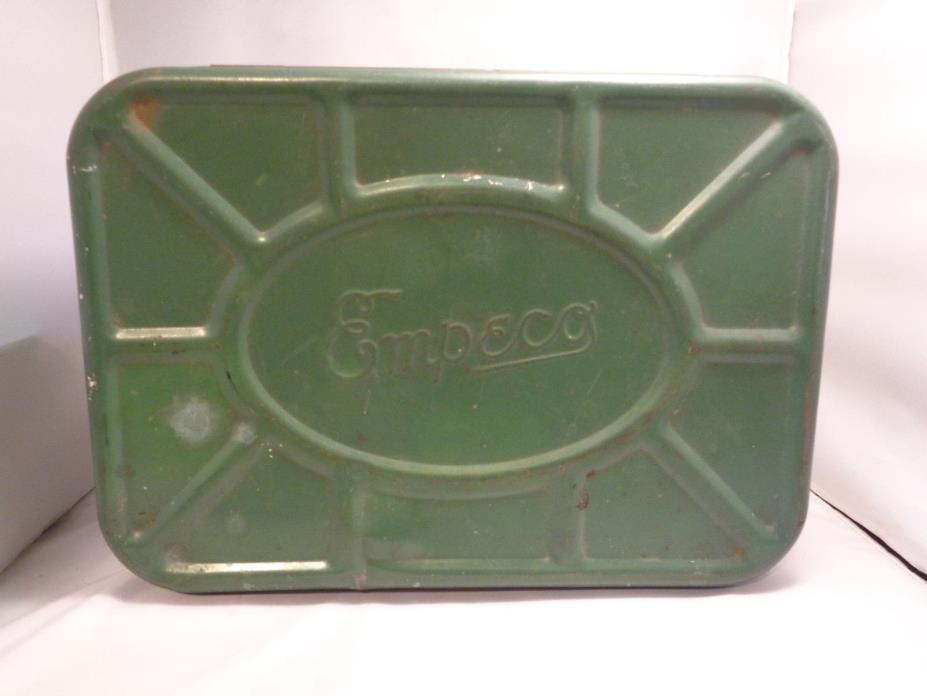 Vintage EMPECO Metal Tin Farmhouse Vented Bread Box Green Color
