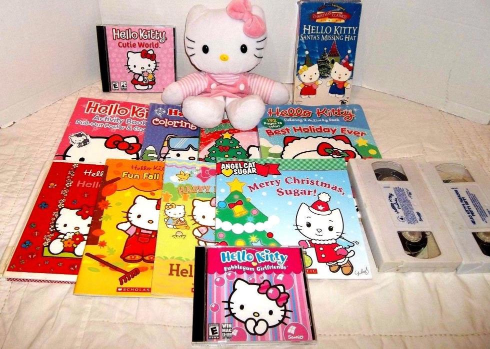 Hello Kitty Lot 9 Books 3 Vhs Tapes 2 Cd-Rom Games Plush Puppet