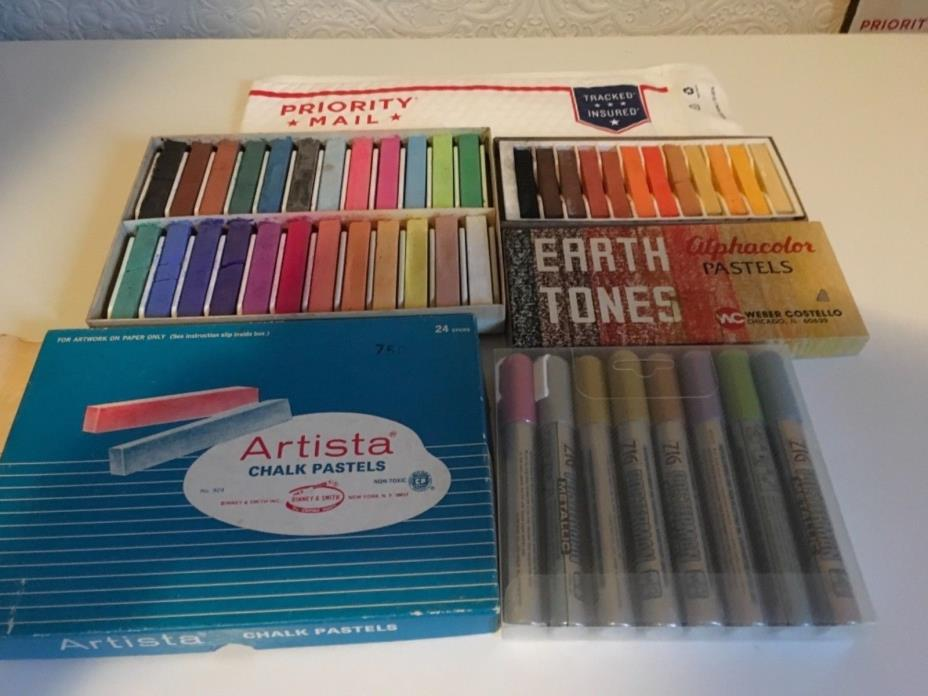 Big lot of vintage art pastels/chalk(36 pastels total) &Zig Posterman(8)markers