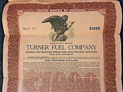 Charleston WV 1923 TURNER FUEL COMPANY $1,000 Mortgage Fund 7 Per Cent Gold Bond
