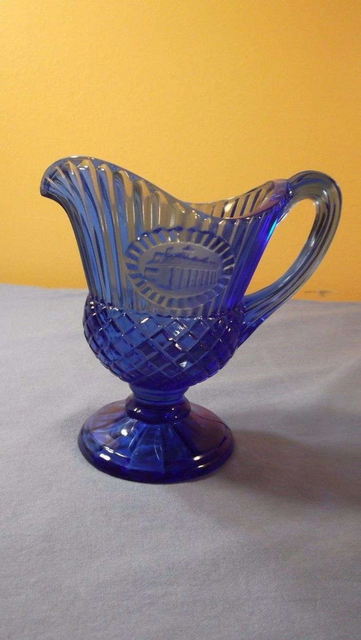 Vintage Avon Fostoria Blue Cobalt Glass Mini Pitcher with  Mount Vernon Cameo