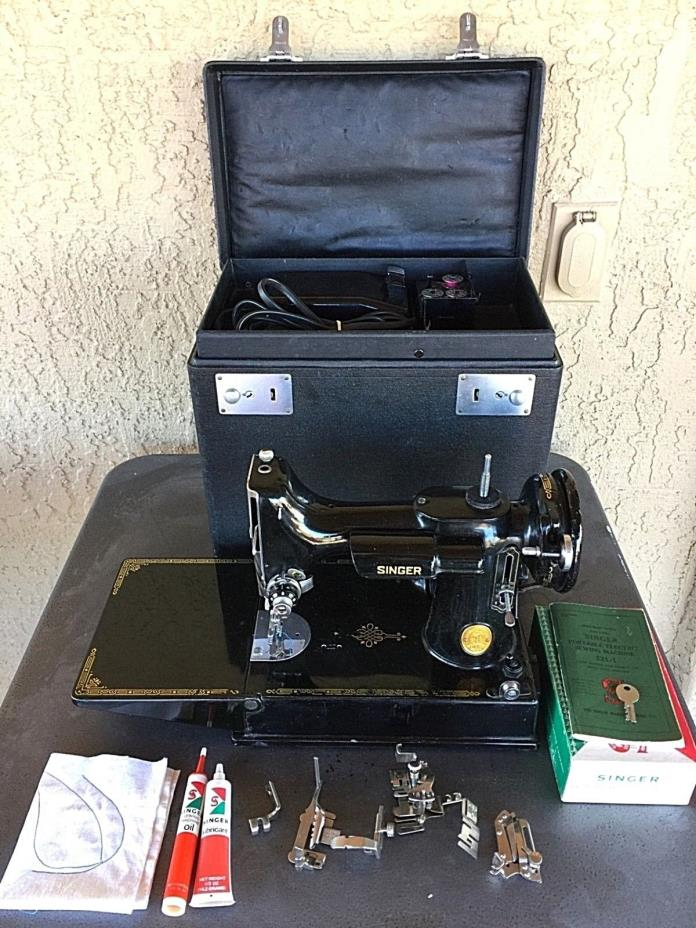 Vtg 1948 Singer 221-1 Featherweight Sewing Machine w/ Extras Works Well