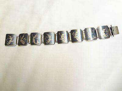 Sterling Silver .925 SENA SIAM NIELLOWARE Mekkala Link Bracelet