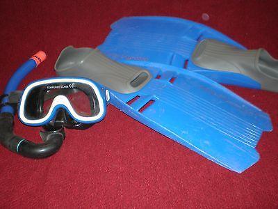Adult Snorkel size 8-9s Set - Snorkel - Mask - Flippers Fit Women's Size 10 Shoe